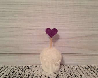 Purple Glitter Heart Cupcake Toppers Wedding Cupcake Toppers Valentines Day Birthday Appetizer Horderves Food Picks