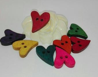 set of 25 heart, 21 * 17mm wood buttons