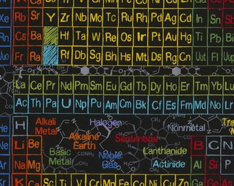 Periodic table quilt etsy periodic table black bg timeless treasures bty urtaz Image collections