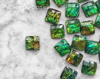 10pcs ∙ Black Faceted Opal Acrylic Square Iridescent Decoden Gem Tiles Flatback Cabochon Faux Fire Opal Jewelry Supplies