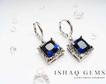 Blue Sapphire Cube Crystal Sterling Silver Earrings Gifts for Her