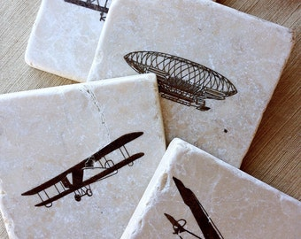 Airplane Decor- Coasters, Vintage Airplane, Pilot Gift, Zeplin, Flying Gift, Airplane Gift, Plane Tile, Plane Gift, Biplane, Plane Decor