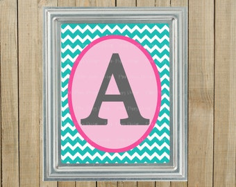 Any Colors, Trendy Turquoise Chevron with Pink and Gray Initial, Nursery Wall Decor, Bedroom, Playroom, Gift, Printable, Custom Digital File