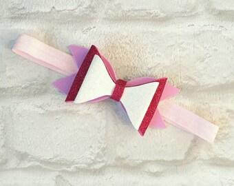 Pink glitter hair band, Hair bow, Handmade hair bow, pink hair bow, Child's hair accessory