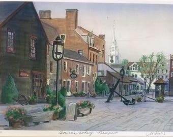 "Bowen's Wharf Newport, 11""x14""matted print from original oil painting, framable Rhode Island wall art, coastal scene, seacoast art"