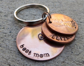 """Best Mom / Mommy 1"""" Circle penny key chain with custom name pennies - choose your year"""