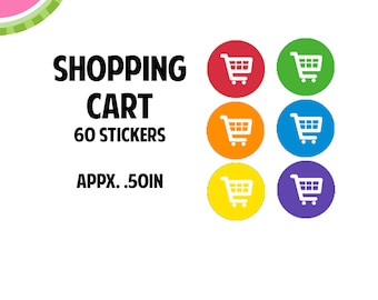 Shopping Cart Icon Stickers | 60 Kiss Cut Stickers | IC053