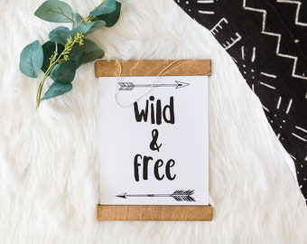 Wild and free | Nursery decor boy | Framed print | Framed wall decor | Wall hanging | Nursery wall decor | Wild and free print