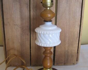 Vintage Hobnail White Milk Glass Lamp / Small Wood Glass Lamp / Bedroom  Light / Retro