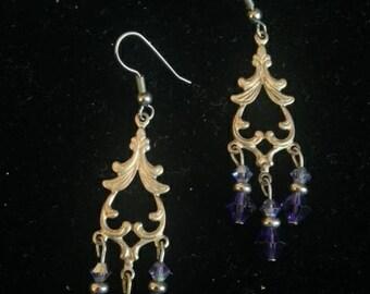 Purple & Silver Chandelier Earrings