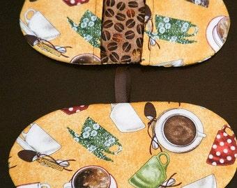 Fingertip Microwave Mitt - Microwave Mitts - Pot Pincher - Mini Mitt - Housewarming Gift - Stocking  Stuffer  - Coffee Themed