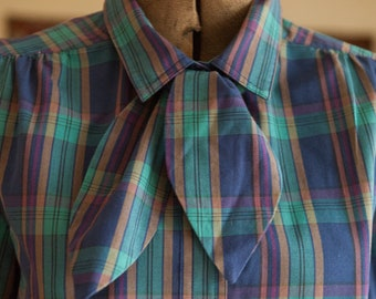 Vintage Plaid Blouse - Preppy 80s Detachable Tie