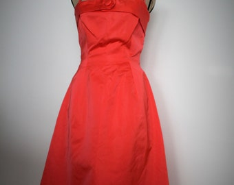 Vintage 1960s dress women, 1960s dress, 60s red dress, 1960s gown, Vintage clothing, Vintage duschess, Prom, Wedding gown, Red dress, Small,
