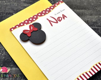 Minnie Mouse Personalized Stationery · A2 FLAT · Red and Yellow · Coordinating Thank You Notes for Minnie Invitations