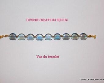 AB blue glass beaded bracelet