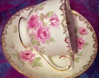 Pretty Pink Addiction-Sweet Salisbury Bone China Teacup and Saucer