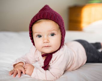 Baby crochet hat, Baby bonnet, Toddler bonnet, Burgundy hat, Maroon hat, Pixie Bonnet, Knit baby hat, knit baby bonnet, Crochet bonnet