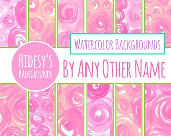 Roses Rainbow Watercolor Digital Paper Set / Pink Water Color Digital Backgrounds / Backdrops (Commercial Use)