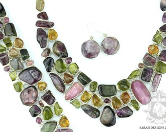 Amazing Coordination of Colors and Shapes! 701 Cts Combined Genuine Afghanistan WATERMELON TOURMALINE Necklace Earring & Bracelet Set 155
