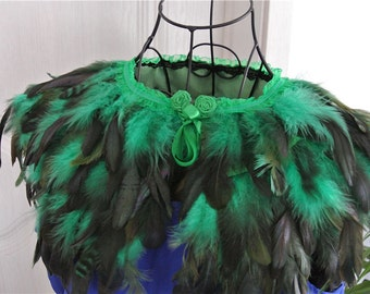 Green feather cape feather jacket feather shawl rooster feather cape 3 ply