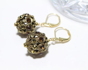 Faberge Style Ball Earrings with Swarovski Crystals in Topaz and Gold Aurum