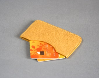 Yellow credit card holder-Yellow card wallet Women's credit card holder Yellow leather card holder Yellow wallet Yellow leather Slim wallet