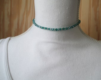 CHOKER NECKLACE/ CRYSTAL Choker/ Beaded Choker/ Green Crystal Choker/ Green Choker/ Dainty Choker/ Dainty Necklace/ Gift For Her