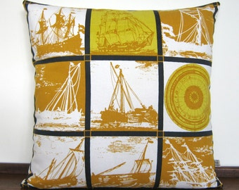 Nautical Vintage 1950's Cushion Cover - Sailing Boats and Ship's Compass