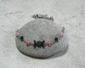 Triple Moon Necklace Black And Pink Opal