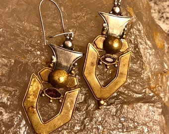 Beautiful Brutalist Sterling Silver Brass Garnet Vintage Earrings