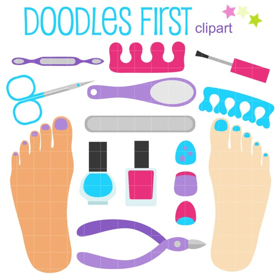 pedicure set digital clip art for scrapbooking card making rh etsy com pedicure clipart free manicure pedicure clipart free