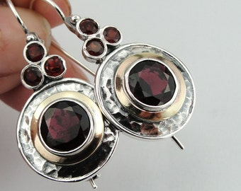 925 Garnet Earrings, Long 925 Sterling Silver &  9K Yellow Gold Garnet Earrings, round earrings, Handmade CZ Earrings.  (ms e1303)