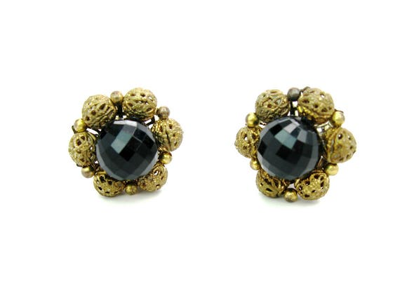 Vintage Lisner Black Lucite Gold Gilt Filigree Flower Cluster Earrings