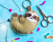 sloth keyring kit, felt sloth, sloth, felt craft kit, party favour, DIY kit, kids craft kit, live slow, keyring