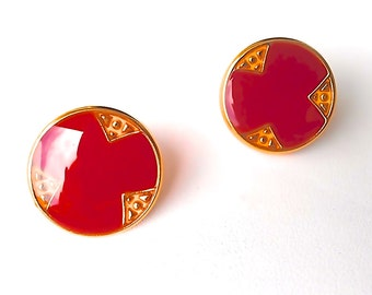 Candy Apple Red 24k Gold Plated Vintage Post Studs. Gift Box w/Ribbon Included.Tracking Included for US Buyers. FREE Shipping for US Buyers.