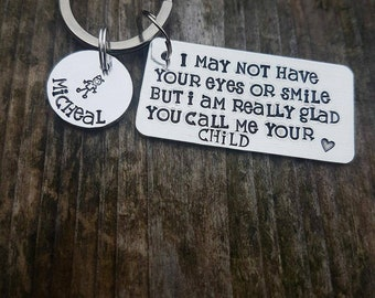 Personalised step dad gift keyring gift for father's day