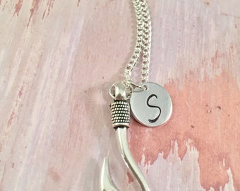 Hooked on you Fish Hook Charm Necklace Personalized Hand Stamped Initial Antique Silver Hooked Heart Necklace