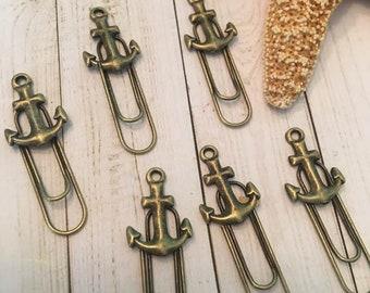 Anchor Bookmark, Anchor Paper Clips,  Antique Bronze, Nautical Bookmark,Nautical Paperclips