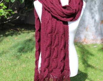 Long Knit Scarf, Chunky Knit