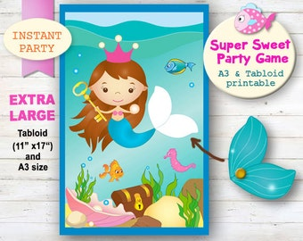 Small pin the tail on the mermaid printable party mermaid party pin the tail on the mermaid party game mermaid party decorations pool party printables cute mermaid party undersea party maxwellsz