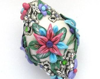 Flower Basket Bead Dark Pink Lavender Turquoise White Artisan Bead