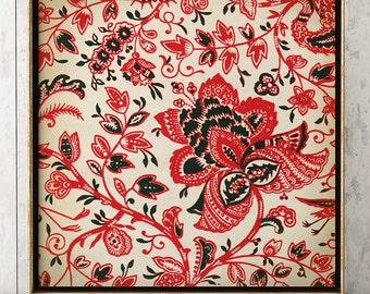 INDONESIAN GRAPHIC ART Print Elegant Red and Black Floral Java Batik Design Poster, Drawing Floral Pattern, square