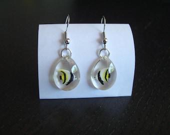 Teardrop Tropical fish handmade resin earrings, original, woman gift