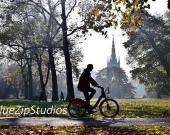 London cyclist photograph, Autumn, mist, fog, Kensington Gardens, Royal Albert Hall, Albert Memorial, wall art, photography, art print