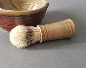 Men's Shaving Brush with Boars Hair Bristles Soft Stripe Honeyed Ginger