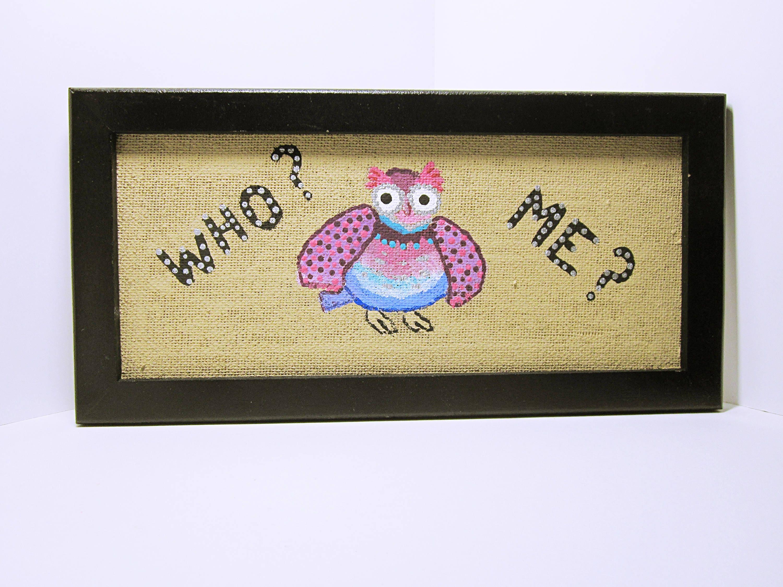 OWL PAINTING Folk Wall Art Whimsical Owl Art Child\'s Room