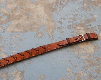 vintage Western Belt -  70s Woven Leather Belt Chevron Arrow Belt Sz S