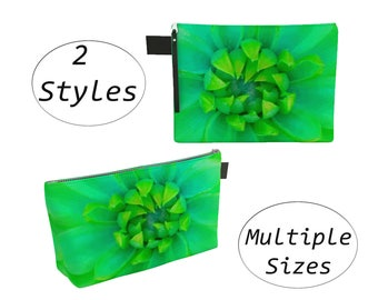 Green Floral Pouch Carry All, Zippered Clutch, Big Large, For Makeup Cosmetics Toiletry Laptops Tablet, Diapers Travel Carryall Green Dahlia