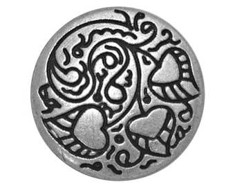 12 Love Leaf 3/4 inch ( 20 mm ) Metal Buttons Antique Silver Color