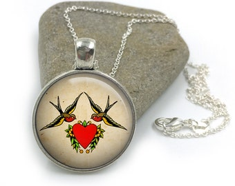 Sailor Jerry Necklace, Nautical Pendant,Rockabilly Necklace, Sailor Jerry,Retro Pendant,Pinup Necklace, tattoo,gift for wife,gift for her 13